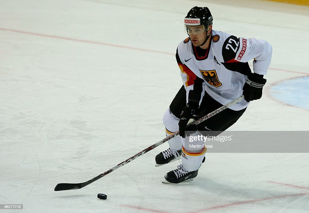 Michael Bakos of Germany skates with the puck during the IIHF World Ice Hockey Championship preliminary round group B match between France and...
