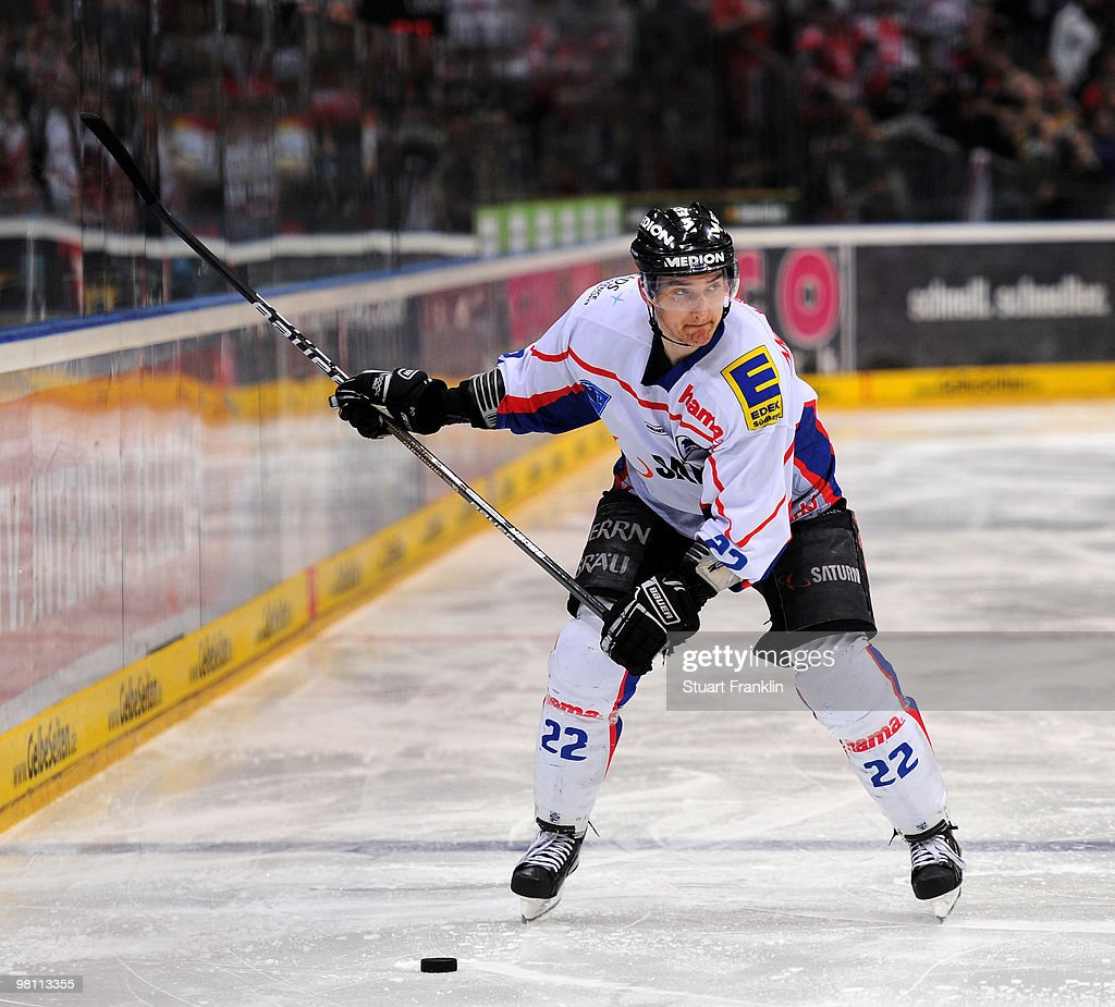 Michael Bakos of Ingolstadt in action during the DEL playoff match between Koelner Haie and ERC Ingolstadt on March 26 2010 in Cologne Germany