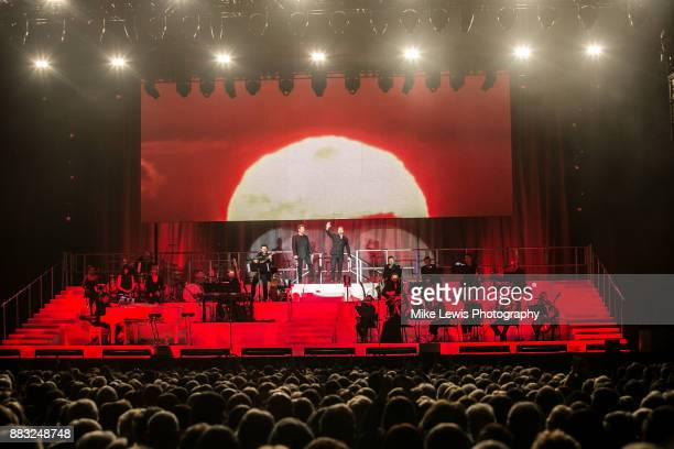 Michael Ball Alfie Boe perform on stage at Motorpoint Arena on November 30 2017 in Cardiff Wales