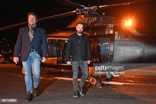 Michael Ball and Alfie Boe arrive in London by Helicopter to promote their new album 'Together Again' on October 27 2017 in London England To...