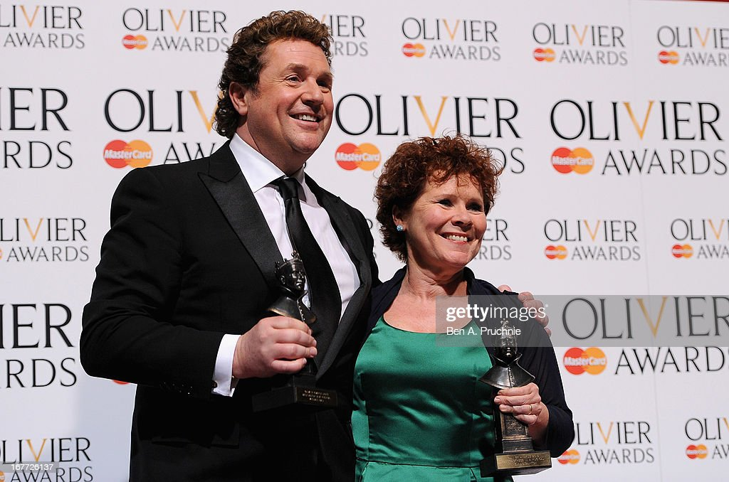 Michael Ball with his Best Actor in a Musical award and Imelda Staunton with ther Best Actress in a Musical award during The Laurence Olivier Awards at the Royal Opera House on April 28, 2013 in London, England.