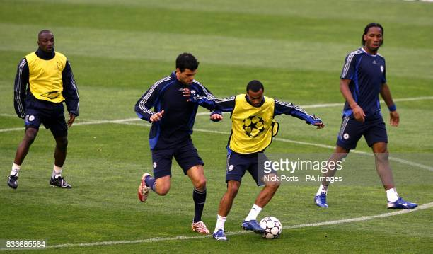 Michael Ballack and Ashley Cole battle for the ball as Claude Makelele and Didier Drogba watch