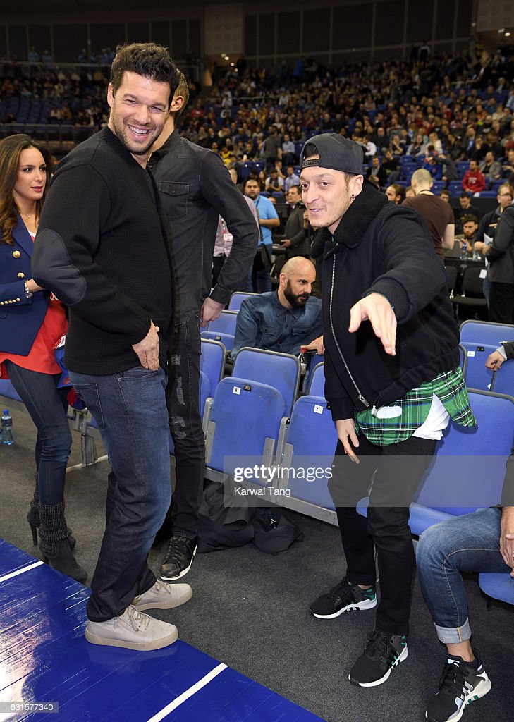 Michael Ballack and Mesut Ozil attend the Denver Nuggets v Indiana Pacers match as part of the NBA Global Games London 2017 at The O2 Arena on January 12, 2017 in London, England.