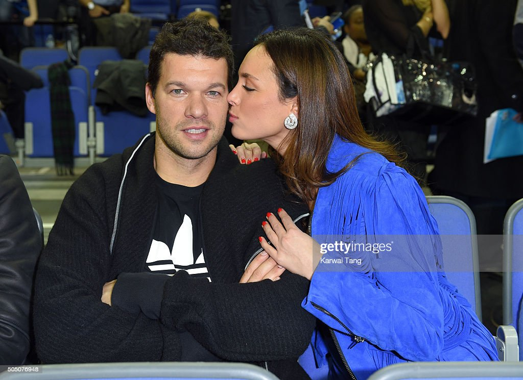 Michael Ballack and Natacha Tannous attend the Orlando Magic vs Toronto Raptors NBA Global Game at The O2 Arena on January 14, 2016 in London, England.