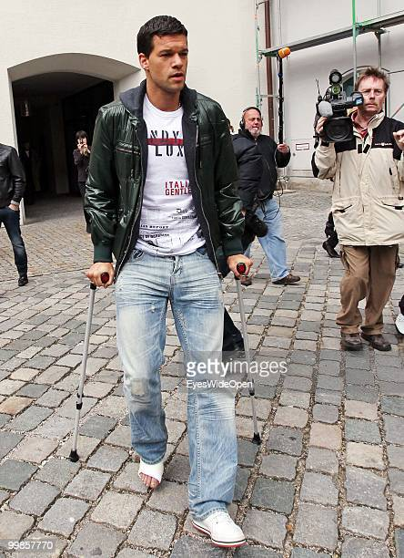 Michael Ballack German National Football player uses crutches leaving the practice of doctor HansWilhelm MuellerWohlfahrt on May 17 2010 in Munich...