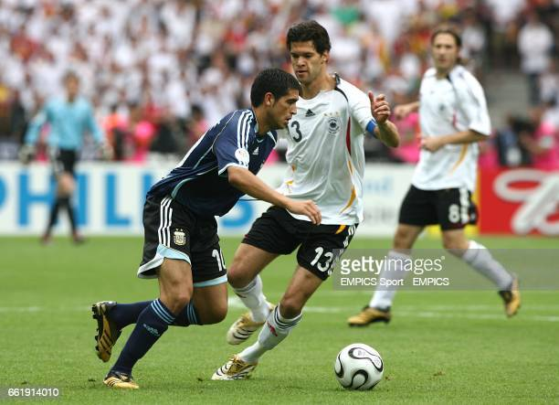 Michael Ballack Germany and Juan Riquelme Argentina battle for the ball