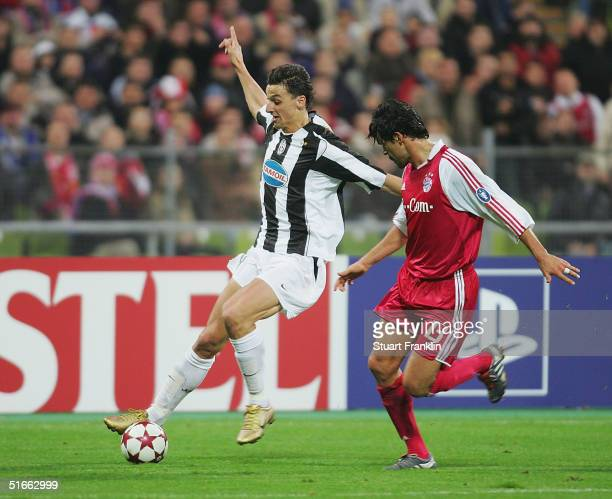 Michael Ballack of Bayern in action against Zlatan Ibrahimovic of Juventus during The UEFA Champions League group C match between FC Bayern Munich...
