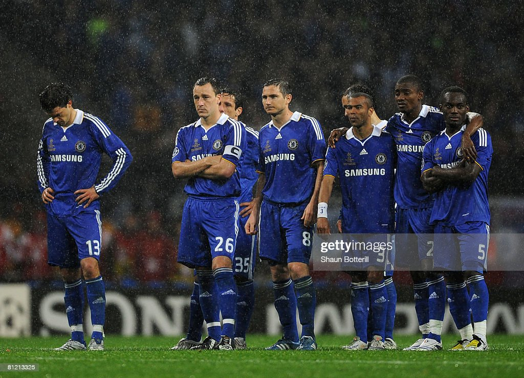 Michael Ballack of Chelsea (L) and team mates looks dejected during the penalty shoot-out during the UEFA Champions League Final match between Manchester United and Chelsea at the Luzhniki Stadium on May 21, 2008 in Moscow, Russia.