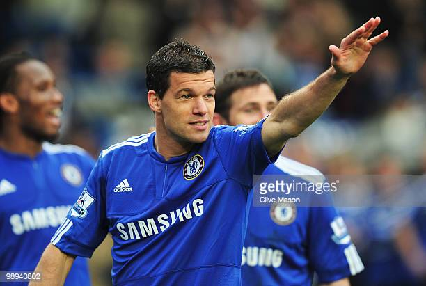 Michael Ballack of Chelsea celebrates as they win the title after the Barclays Premier League match between Chelsea and Wigan Athletic at Stamford...