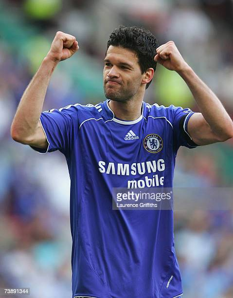 Michael Ballack of Chelsea celebrates his team's victory at the end of the FA Cup sponsored by EON Semi Final match between Blackburn Rovers and...