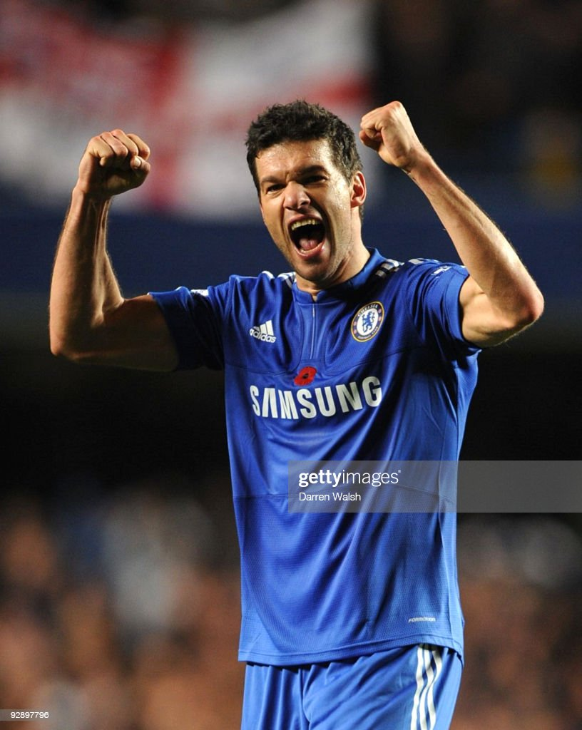 Michael Ballack of Chelsea celebrates victory after the Barclays Premier League match between Chelsea and Mancester United at Stamford Bridge on November 8, 2009 in London, England.