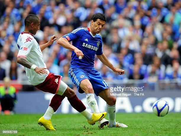 Michael Ballack of Chelsea is fouled by KevinPrince Boateng of Portsmouth during the FA Cup sponsored by EON Final match between Chelsea and...