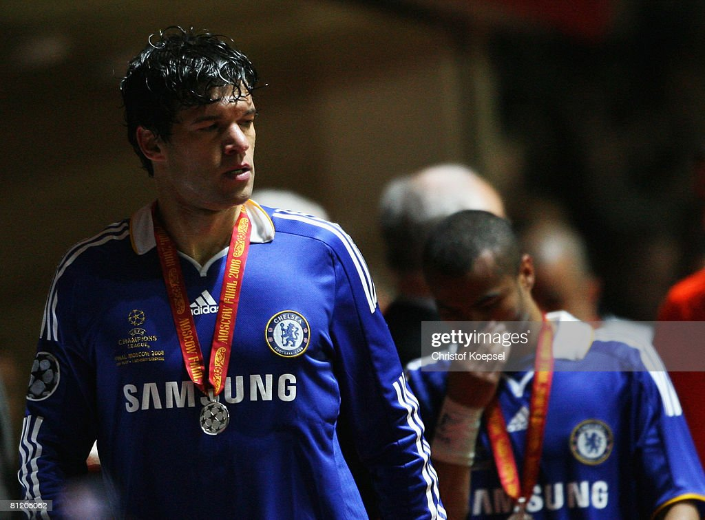 Michael Ballack of Chelsea looks dejected in defeat following the UEFA Champions League Final match between Manchester United and Chelsea at the Luzhniki Stadium on May 21, 2008 in Moscow, Russia.