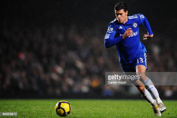 Michael Ballack of Chelsea runs with the ball during the Barclays Premier League match between Chelsea and Portsmouth at Stamford Bridge on December...
