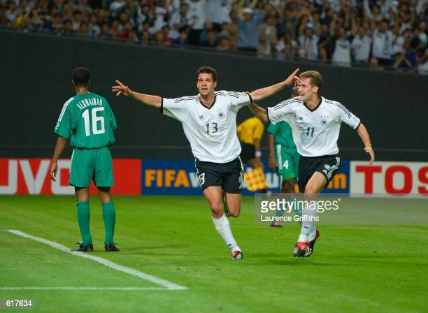 Michael Ballack of Germany celebrates after scoring the third goal in the first half during the Germany v Saudi Arabia Group E World Cup Group Stage...