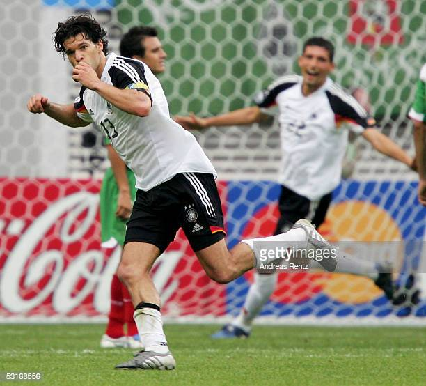 Michael Ballack of Germany celebrates after seventh goal with Kevin Kuranyi during the game between Germany and Mexico for the third place of the...