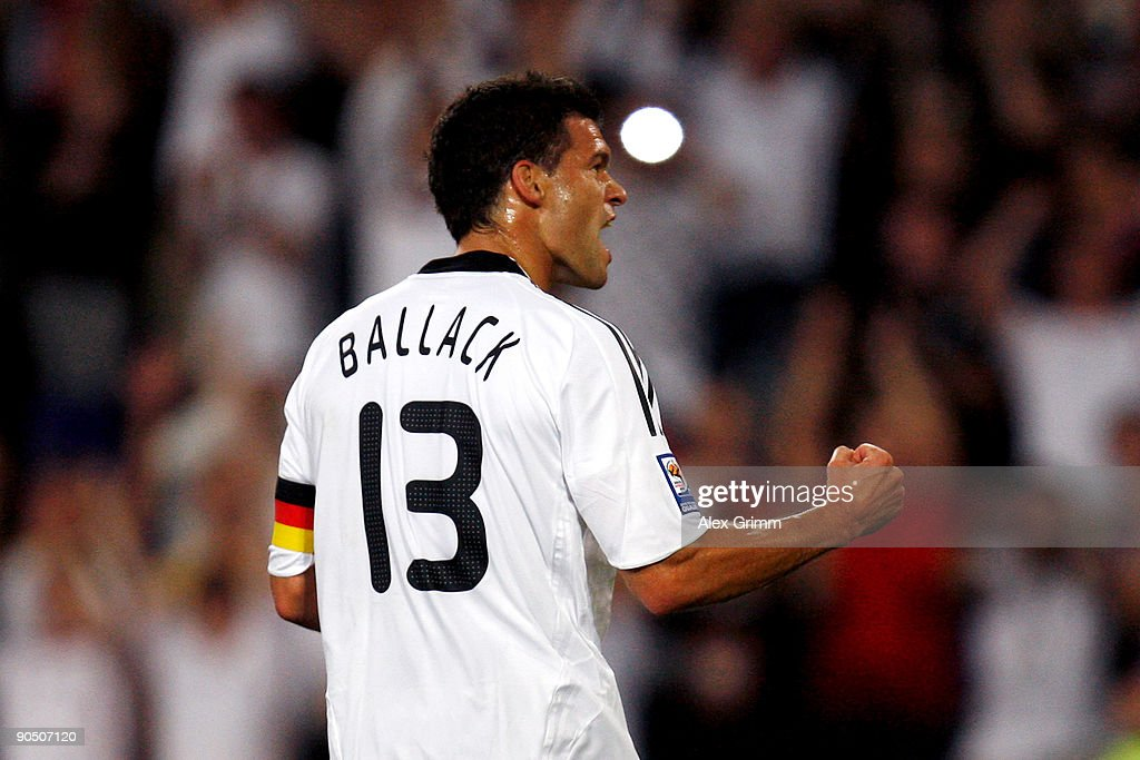 Michael Ballack of Germany celebrates his team's first goal during the FIFA 2010 World Cup Group 4 Qualifier match between Germany and Azerbaijan at the AWD Arena on September 9, 2009 in Hanover, Germany.
