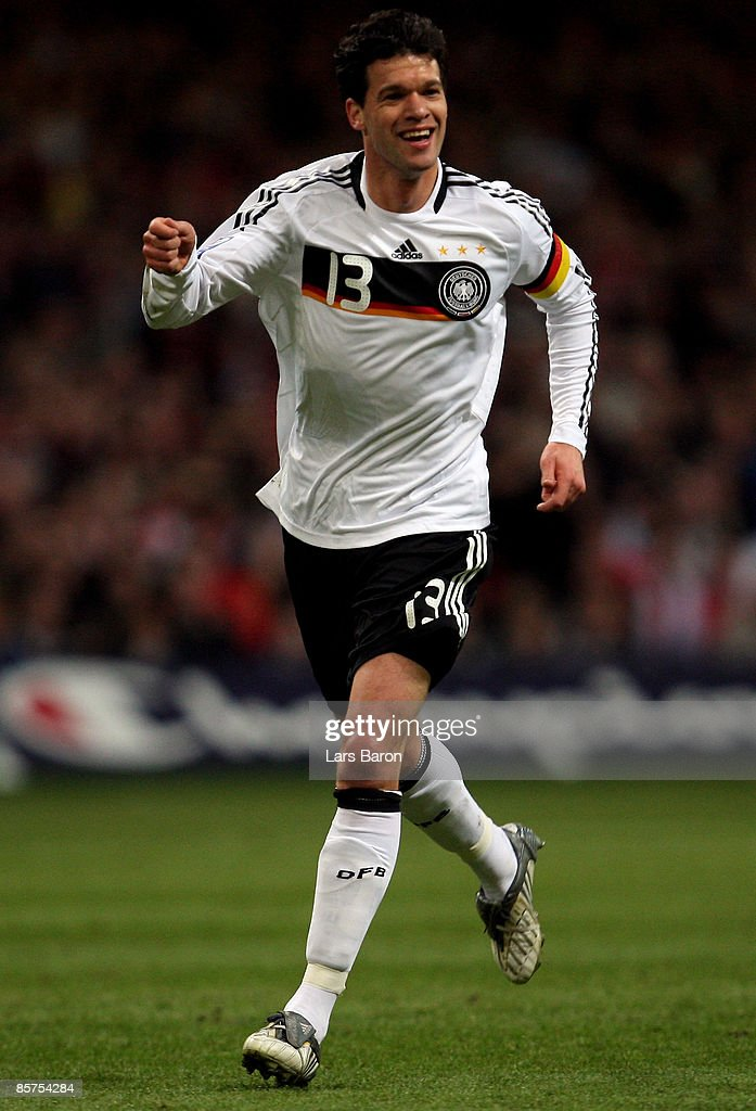 Michael Ballack of Germany celebrates scoring the first goal during the FIFA 2010 World Cup Group 4 Qualifier match between Wales and Germany at the Millennium Stadium on April 1, 2009 in Cardiff, Wales.