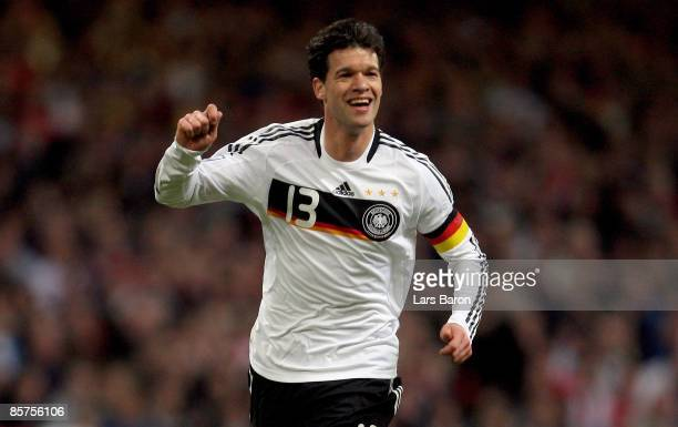 Michael Ballack of Germany celebrates scoring the first goal during the FIFA 2010 World Cup Group 4 Qualifier match between Wales and Germany at the...