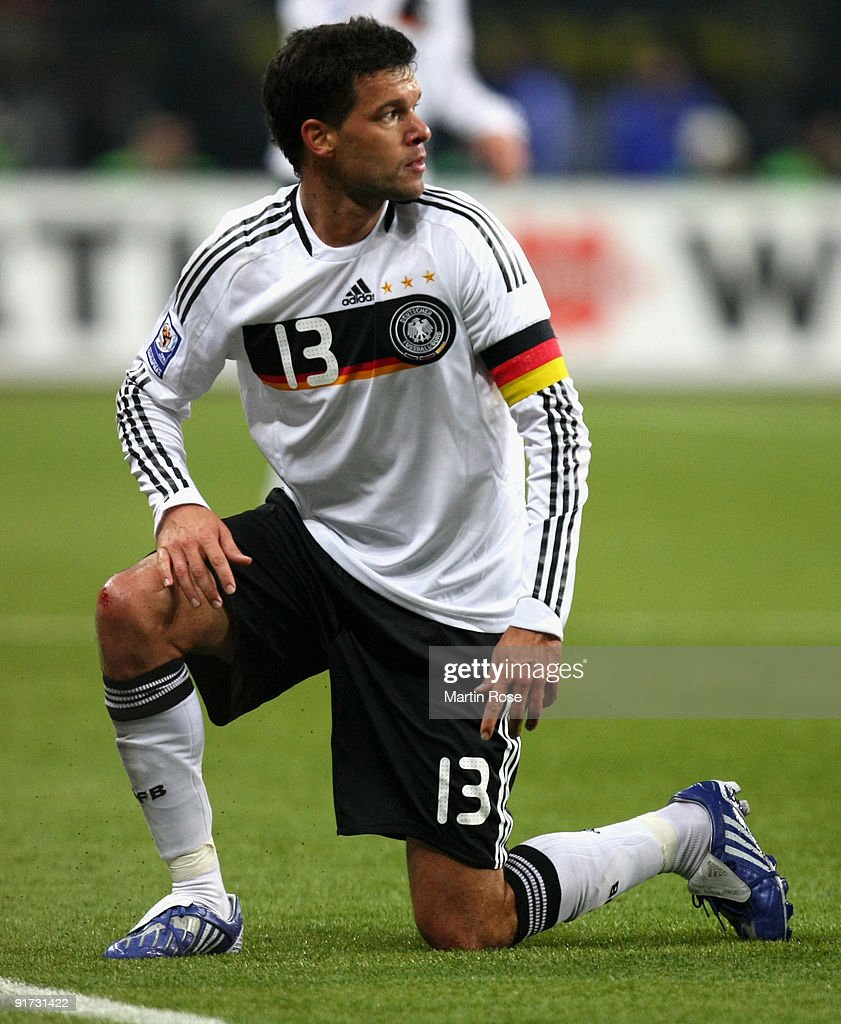 <a gi-track='captionPersonalityLinkClicked' href=/galleries/search?phrase=Michael+Ballack&family=editorial&specificpeople=202166 ng-click='$event.stopPropagation()'>Michael Ballack</a> of Germany reacts during the FIFA 2010 World Cup Group 4 Qualifier match between Russia and Germany at the Luzhniki Stadium on October 10, 2009 in Moscow, Russia.