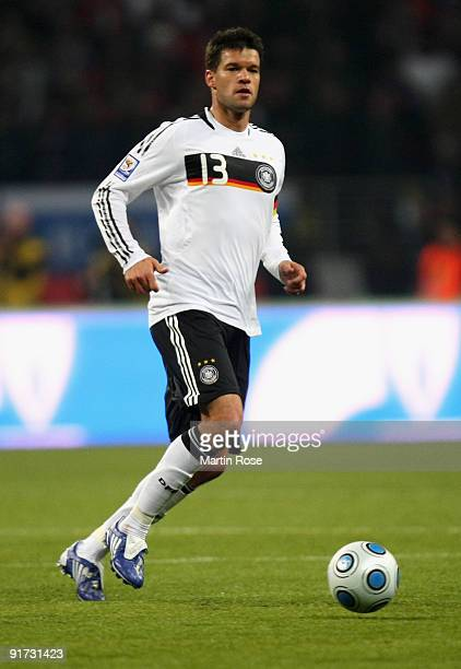 Michael Ballack of Germany runs with the ball during the FIFA 2010 World Cup Group 4 Qualifier match between Russia and Germany at the Luzhniki...