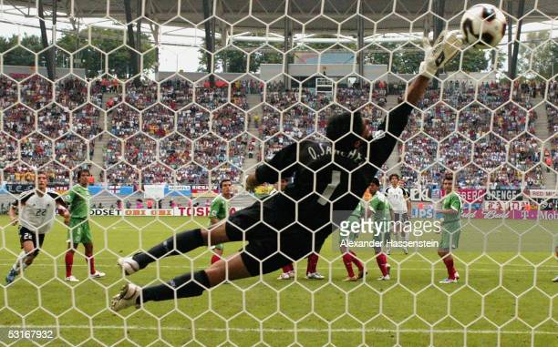 Michael Ballack of Germany scores the 6th goal during the match between Germany and Mexico for third place in the FIFA Confederations Cup 2005 at the...