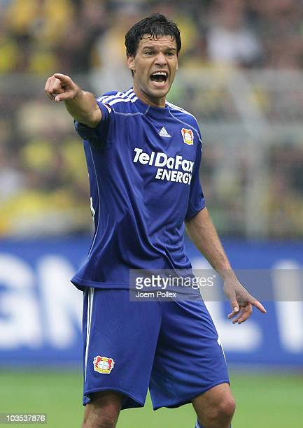 Michael Ballack of Leverkusen gestures during the Bundesliga match between Borussia Dortmund and Bayer Leverkusen at Signal Iduna Park on August 22...