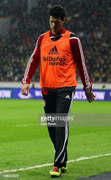 Michael Ballack of Leverkusen looks dejected during the Bundesliga match between Bayer Leverkusen and Borussia Dortmund at BayArena on January 14...