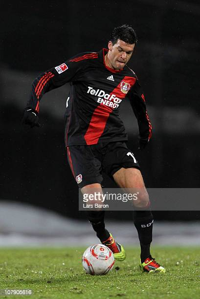 Michael Ballack of Leverkusen runs with the ball during the friendly match between RotWeiss Oberhausen and Bayer Leverkusen at Niederrhein Stadium on...
