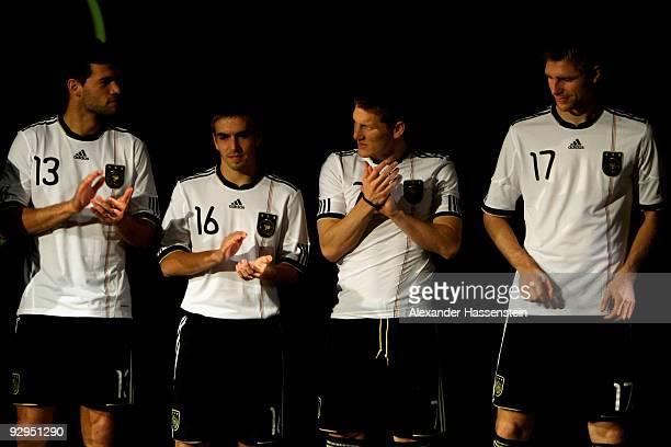 Michael Ballack Philipp Lahm Bastian Schweinsteiger and Per Mertesacker present the new German FIFA World Cup 2010 jersey 'Teamgeist' at the adidas...