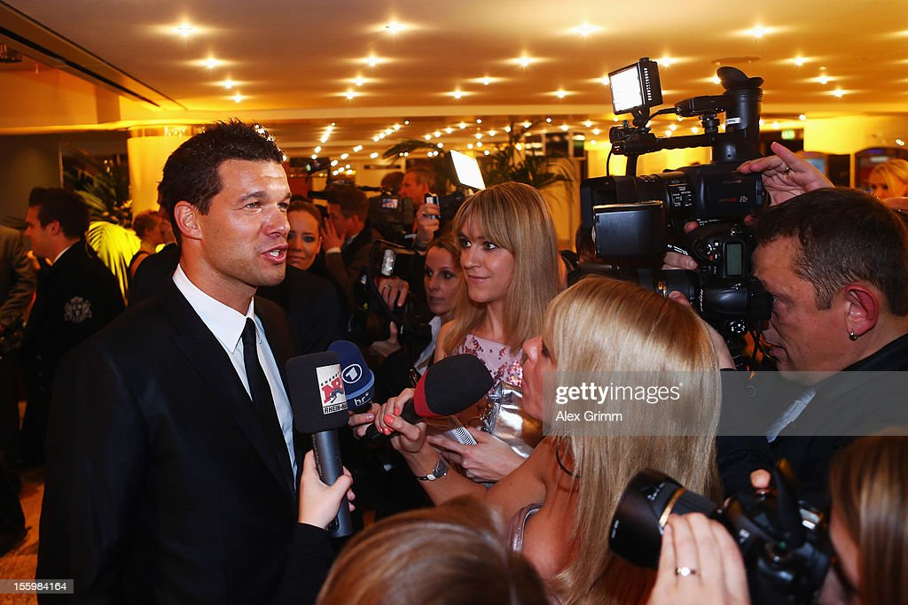 <a gi-track='captionPersonalityLinkClicked' href=/galleries/search?phrase=Michael+Ballack&family=editorial&specificpeople=202166 ng-click='$event.stopPropagation()'>Michael Ballack</a> talks to the media during the 31. Sportpresseball at Alte Oper on November 10, 2012 in Frankfurt am Main, Germany.