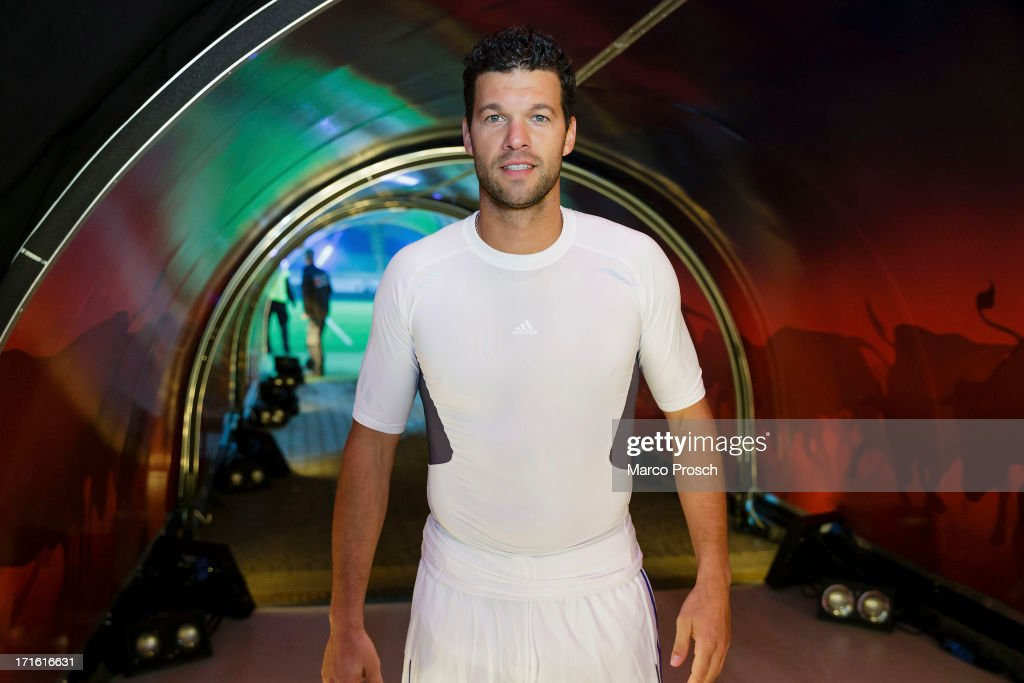 Michael Ballack waves to his fans after the Michael Ballack farewell match 'Ciao Capitano' at the Red Bull Arena on June 5, 2013 in Leipzig, Germany.