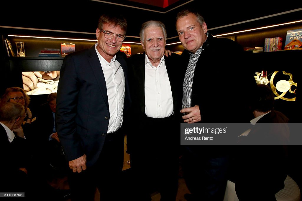 <a gi-track='captionPersonalityLinkClicked' href=/galleries/search?phrase=Michael+Ballhaus&family=editorial&specificpeople=236061 ng-click='$event.stopPropagation()'>Michael Ballhaus</a> (C) and his sons Jan Sebastian (L) and Florian during the <a gi-track='captionPersonalityLinkClicked' href=/galleries/search?phrase=Michael+Ballhaus&family=editorial&specificpeople=236061 ng-click='$event.stopPropagation()'>Michael Ballhaus</a> Hommage reception at the Glashuette Original lounge on February 18, 2016 in Berlin, Germany.