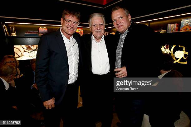 Michael Ballhaus and his sons Jan Sebastian and Florian during the Michael Ballhaus Hommage reception at the Glashuette Original lounge on February...