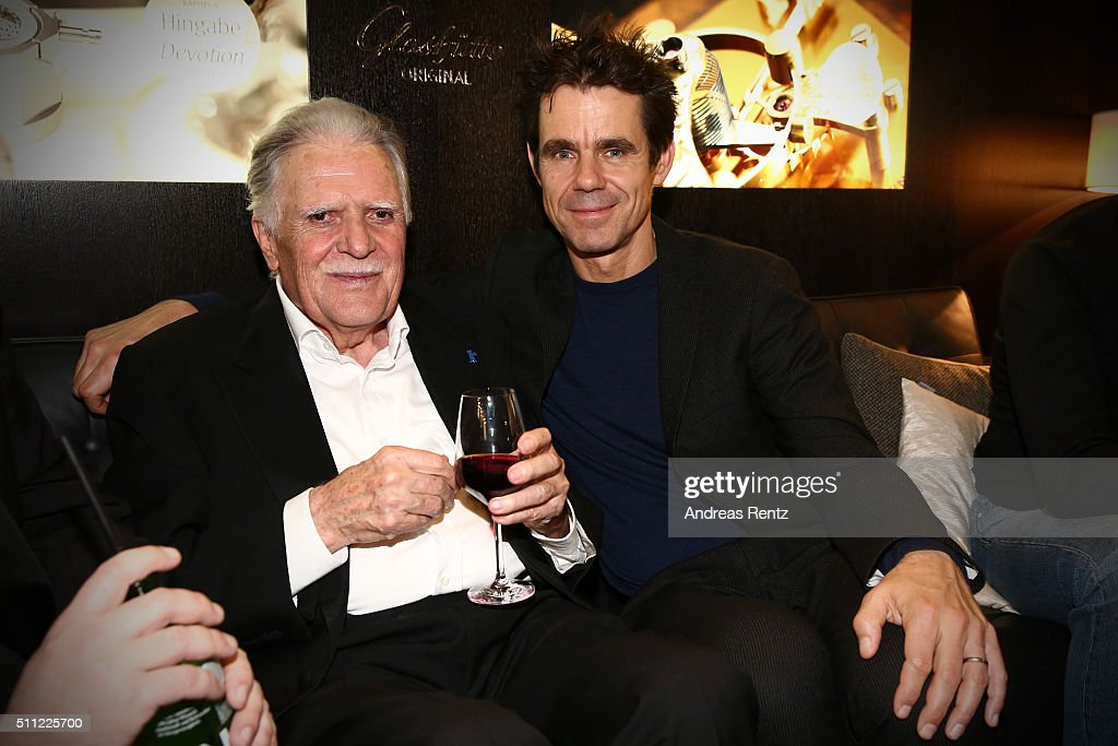 Michael Ballhaus and Tom Tykwer during the Michael Ballhaus Hommage reception at the Glashuette Original lounge on February 18 2016 in Berlin Germany