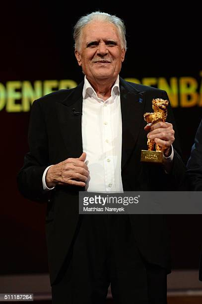 Michael Ballhaus holds his Honorary Golden Bear at the 'Hommage For Michael Ballhaus' during the 66th Berlinale International Film Festival Berlin at...
