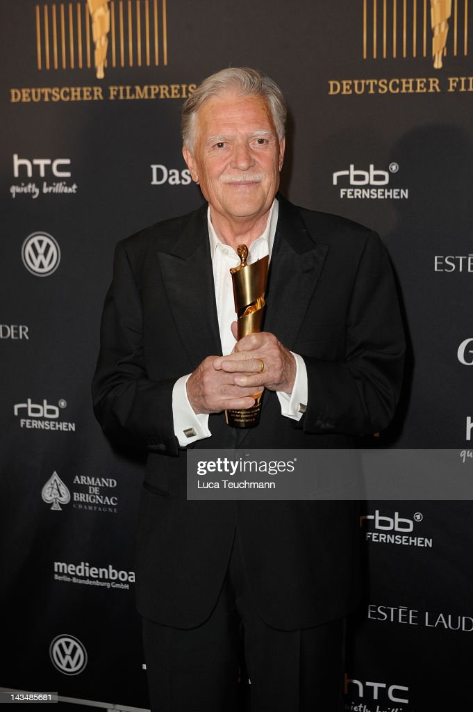 <a gi-track='captionPersonalityLinkClicked' href=/galleries/search?phrase=Michael+Ballhaus&family=editorial&specificpeople=236061 ng-click='$event.stopPropagation()'>Michael Ballhaus</a> poses with his award as he attends the Lola - German Film Award 2012 - Winners Board at Friedrichstadt-Palast on April 27, 2012 in Berlin, Germany.