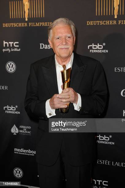 Michael Ballhaus poses with his award as he attends the Lola German Film Award 2012 Winners Board at FriedrichstadtPalast on April 27 2012 in Berlin...