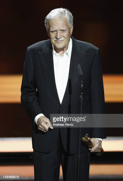 Michael Ballhaus speaks ontage after receiving the 'Lifetime Achievement Award' during the Lola German Film Award 2012 Show at FriedrichstadtPalast...