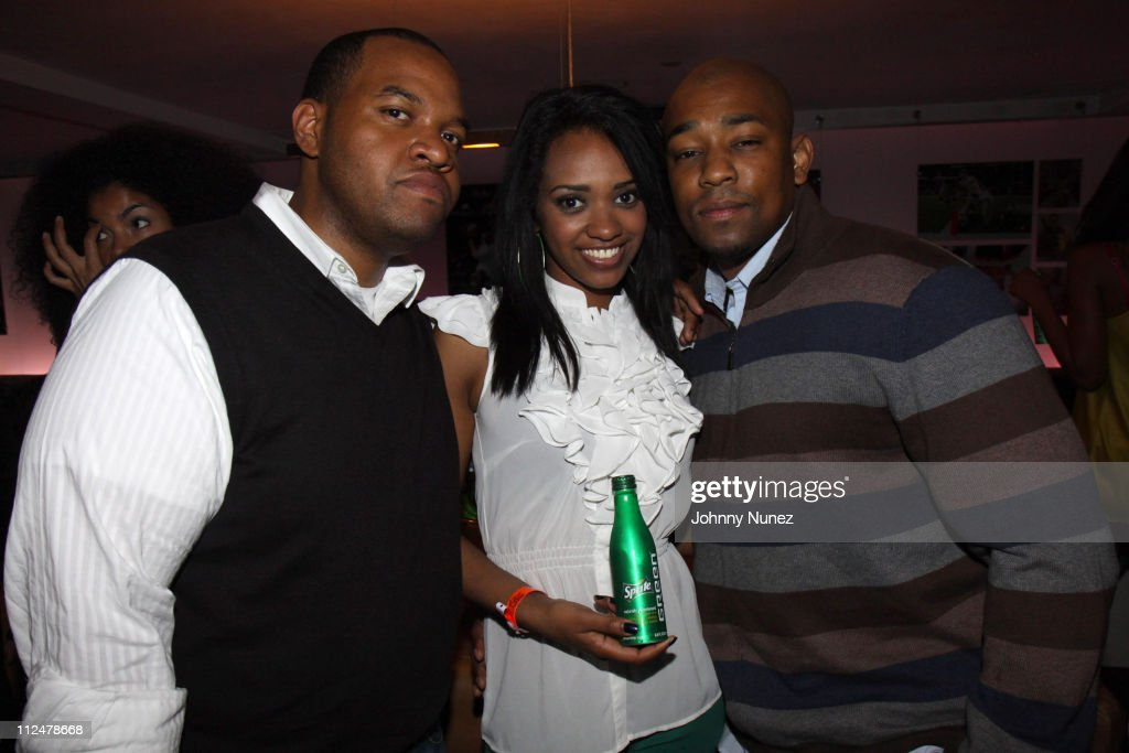 Michael Barclay a Sprite Green Model and Dennis Da Menace attend Def Jam's 25th anniversary celebration at 40 / 40 Club on May 18 2009 in New York...