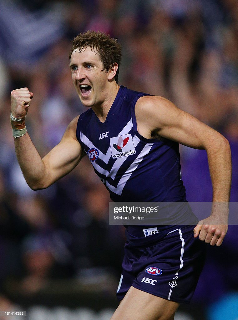 Michael Barlow of the Dockers celebrates a goal during the AFL Second Preliminary Final match between the Fremantle Dockers and the Sydney Swans at Patersons Stadium on September 21, 2013 in Perth, Australia.