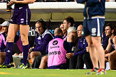 Michael Barlow of the Dockers has his shoulder strapped in the dugout during the 2016 AFL Round 17 match between the Fremantle Dockers and the...