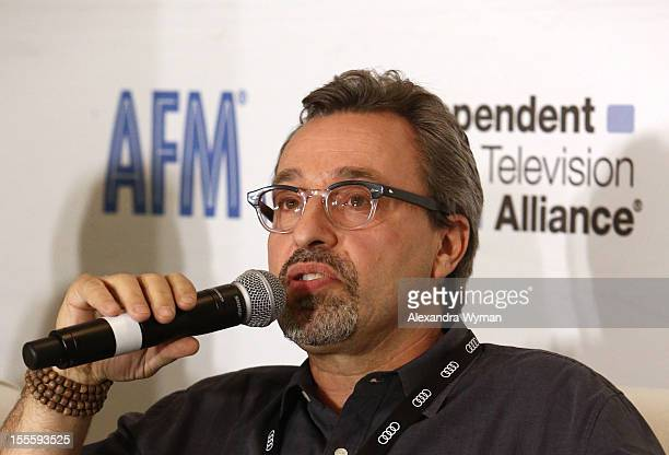 Michael Barnathan President 1492 Pictures speaks at the 'IDA The Doc Remake' panel at American Film Market Day 6 at the Loews Santa Monica Beach...