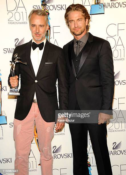 Michael Bastian and Gerard Butler attends the 2011 CFDA Fashion Awards at Alice Tully Hall Lincoln Center on June 6 2011 in New York City
