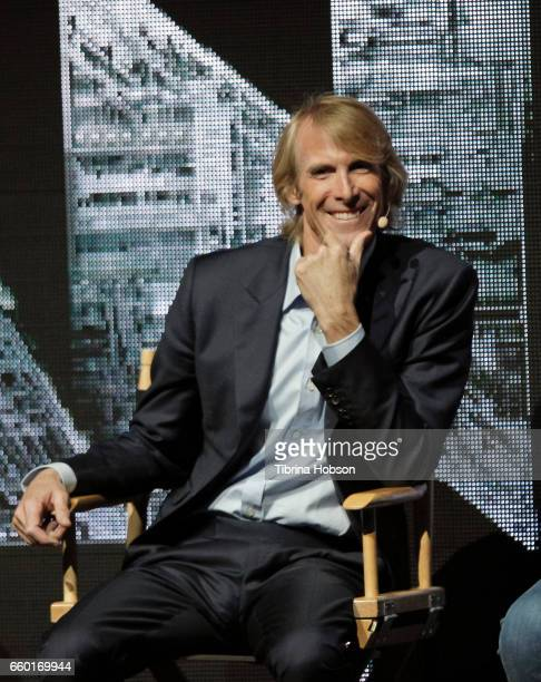 Michael Bay speaks at Paramount Pictures' presentation highlighting its 2017 summer and beyond during CinemaCon at The Colosseum at Caesars Palace on...