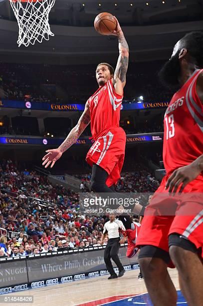 Michael Beasley of the Houston Rockets dunks the ball against the Philadelphia 76ers at Wells Fargo Center on March 9 2016 in Philadelphia...