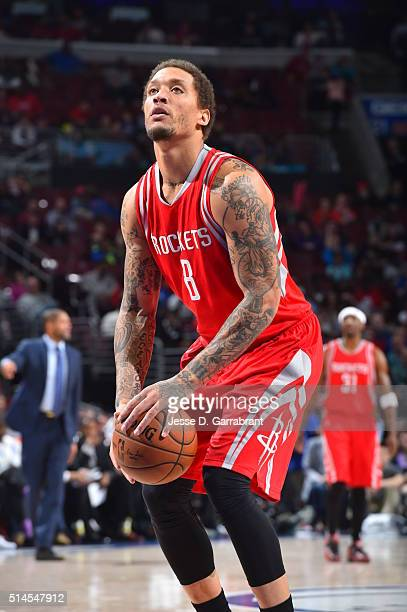 Michael Beasley of the Houston Rockets shoots a foul shot against the Philadelphia 76ers at Wells Fargo Center on March 9 2016 in Philadelphia...
