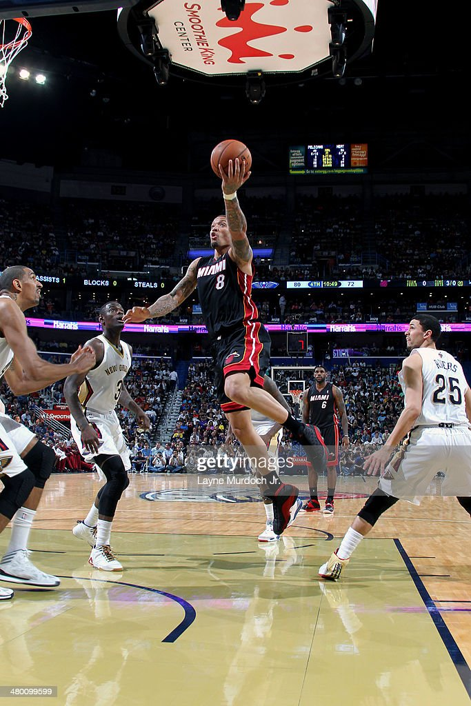 Michael Beasley #8 of the Miami Heat goes up for a shot against the New Orleans Pelicans on March 22, 2014 at the Smoothie King Center in New Orleans, Louisiana.