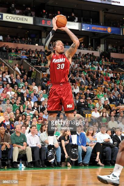 Michael Beasley of the Miami Heat shoots a jump shot in Game Two of the Eastern Conference Quarterfinals against the Boston Celtics during the 2010...