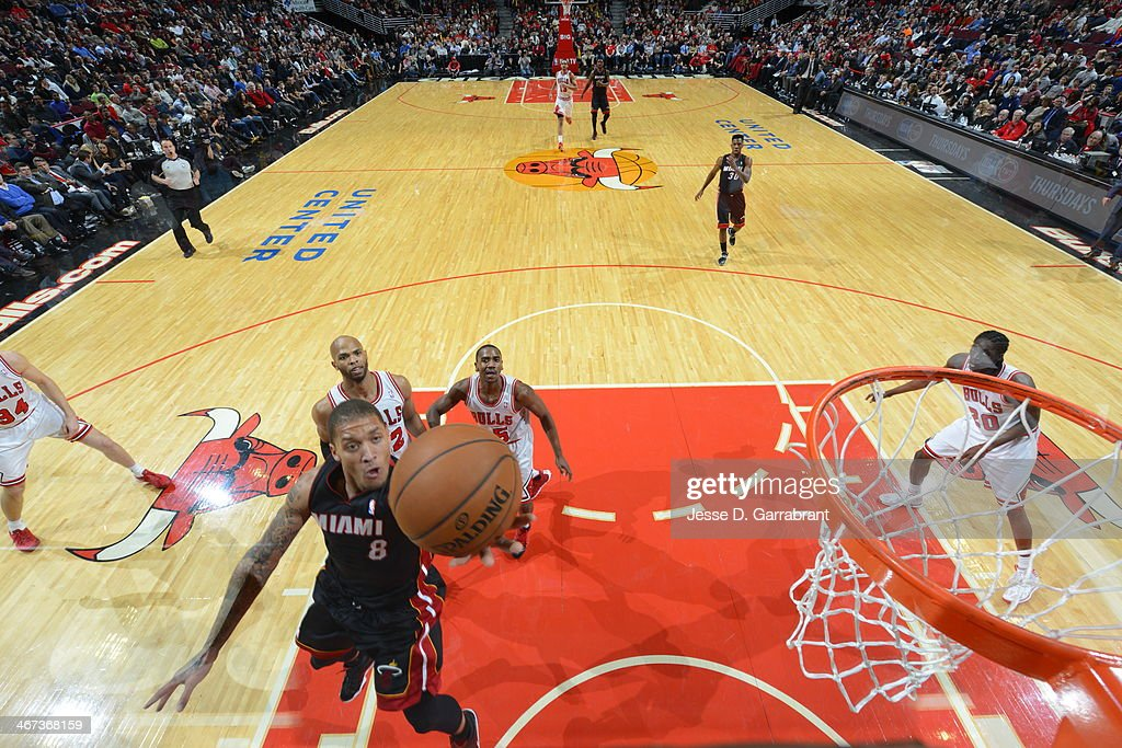 <a gi-track='captionPersonalityLinkClicked' href=/galleries/search?phrase=Michael+Beasley&family=editorial&specificpeople=4135134 ng-click='$event.stopPropagation()'>Michael Beasley</a> #8 of the Miami Heat shoots against the Chicago Bulls on December 5, 2013 at United Center in Chicago, Illinois.